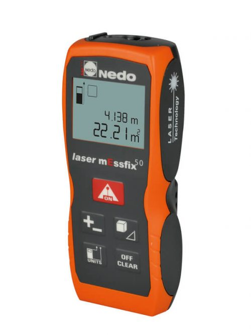 Nedo laser mEssfix50 has a measuring range 0.05 m to 50 m and an accuracy of ± 2.0 mm
