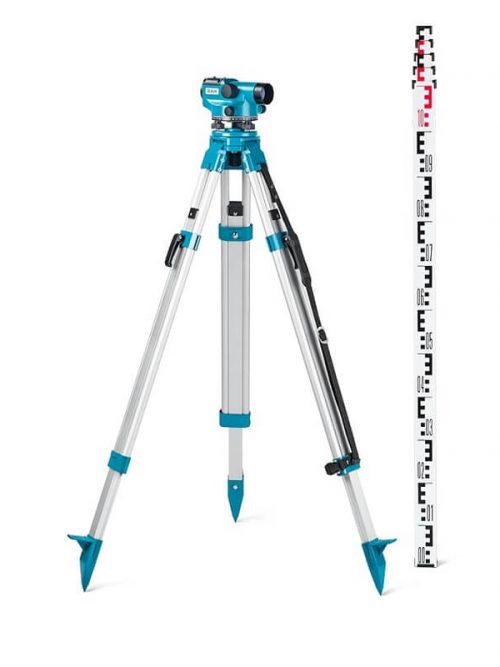 Geo-Fennel Auto level ELN 24-SET (360°) construction level instrument, Aluminium tripod 5 m levelling staff
